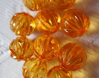 10  Halloween Orange Ribbed Faceted Round Melon Acrylic Beads  16mm