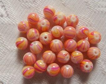 27  Pink Fuschia & Golden Yellow Swirled Round Glass Beads  8mm