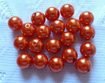 20  Autumn Orange Rust Round Acrylic Pearl Beads  12mm