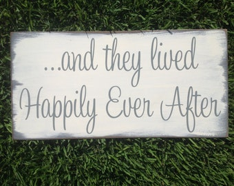 and they lived Happily Ever After | Shabby Chic Disney Wedding Sign | Ring Bearer sign | Flower girl sign | Bridal Shower Gift Decor