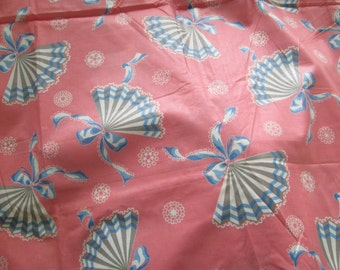 Antique Cotton Vintage 1930's Sewing Quilting Fabric Fans Novelty Print  Half Yard 36 inch wide