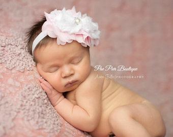 Light Pink and White Headband - Ruffled Headband - Baby Pink - Children - Baby Headband - Newborn Headband - Infant Headband