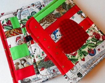 Handmade Quilted Cotton & Wool Red Heart Christmas Scrappy Mug Mats or Potholders