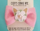 Easter Spring Flower/Bunny ears felt Bow Hair Clip/Headband - Craftycookienyc