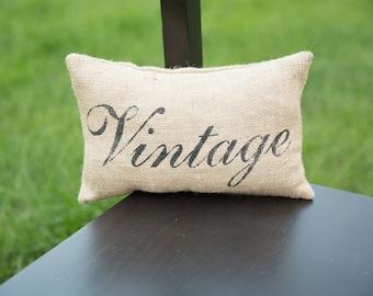 Vintage Decorative Pillow Decor Pillow Simple Pillow burlap pillow14x9 accent pillow