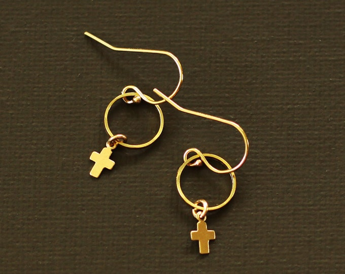 Tiny Cross Earrings - 14K Gold filled or Sterling Silver