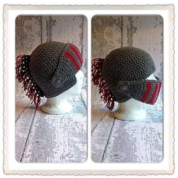 Crochet Knight in Shining Armor hat front panel and mohawk, child size  to Lg. Adult sizes, many colors