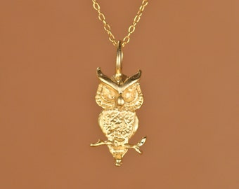 Owl necklace - gold owl - hoot hoot - owl jewelry - bird necklace - a cute 22k gold vermeil owl on a 14k gold vermeil chain