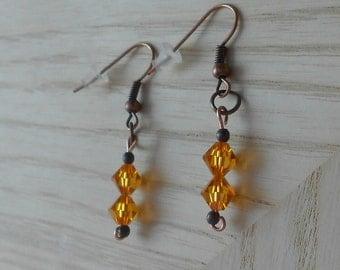 pierced earrings Topaz Swarovski crystals simple jewelry