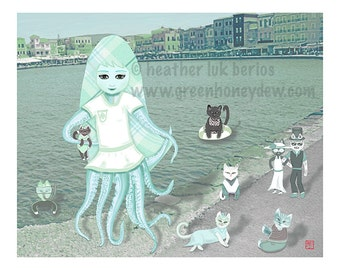 Octo Puss - Fine Art Giclee Print - Fantasy, Whimsical, Girl, Cats, Octopus, Ocean, Teal, Green, Blue
