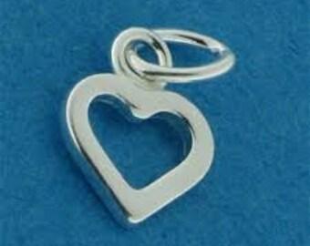 sterling silver open heart charm add on
