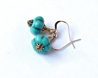 Turquoise Earrings, Gold Earrings, Blue Earrings, Turquoise and Gold, Exotic Earrings, Gemstone Jewelry