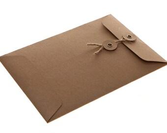 String Tie Envelopes - Brown Kraft x 10 (C7 size)