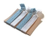 Elastic Hair Ties Light Blue and White Quatrefoil No Crease Yoga Hair Bands