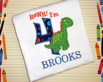 Birthday Dinosaur with Age Applique Monogrammed T Shirt or Bodysuit, Boys Custom Personalized Monogram Embroidered Dino Monster T Rex Dino