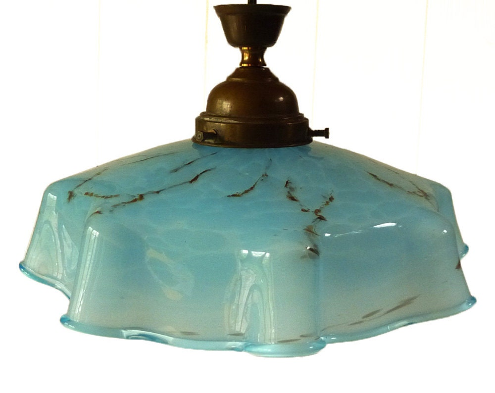 French Vintage Turquoise Opaline Ceiling Lamp Glass Shade