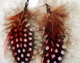 Red Speckle Guinea Feather Earring