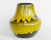 Stunning ES Keramik pottery vase drip glaze Fat Lava era west german retro vintage midcentury modern mellow yellow black label sixties UFO - Coollect