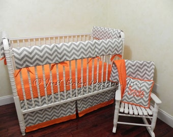 Custom Bumperless Crib Bedding Brooks - Teething Rail Guard in Gray Chevron with Orange