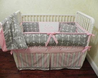 Custom Nautical Baby Bedding Set Salem - Girl Baby Bedding, Gray Anchors, Pink and Gray Chevron and Stripes