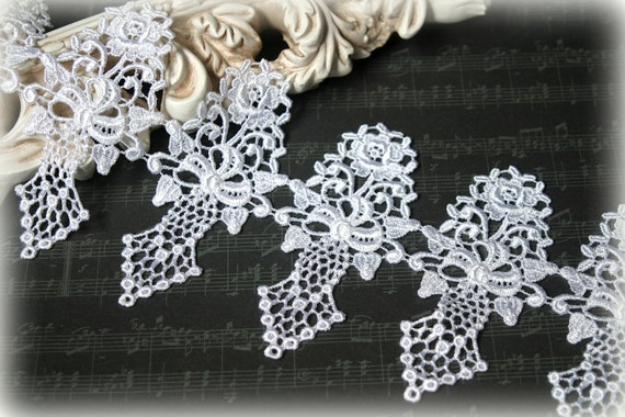 "White Venise Lace Trim, Lace Appliques, Couture Gowns, Dresses, Crafting, etc, approx.4.50"" GL-184"