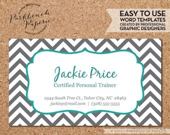 Business Card Template - Gray Chevron & Teal Frame -  DIY Editable Word Template, Instant Download, Printable