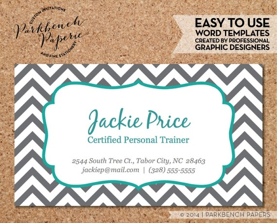 Items Similar To Business Card Template Gray Chevron Teal - Editable business card templates free