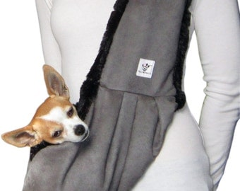 Dog Sling - Gray with Black Faux Fur