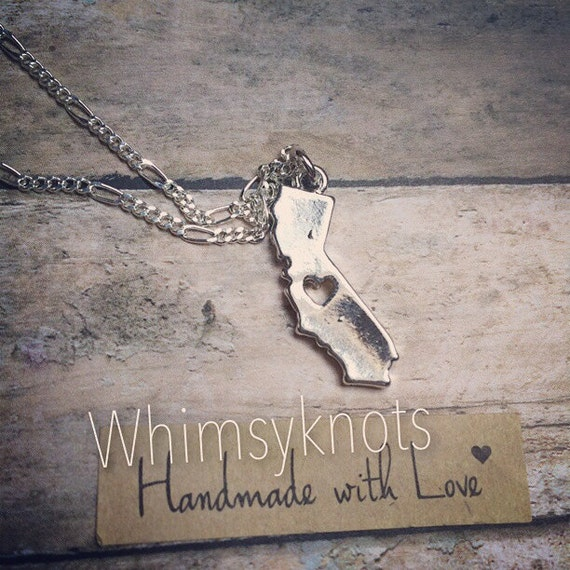 California shaped charm necklace . Personalized, Hand-Stamped Jewelry