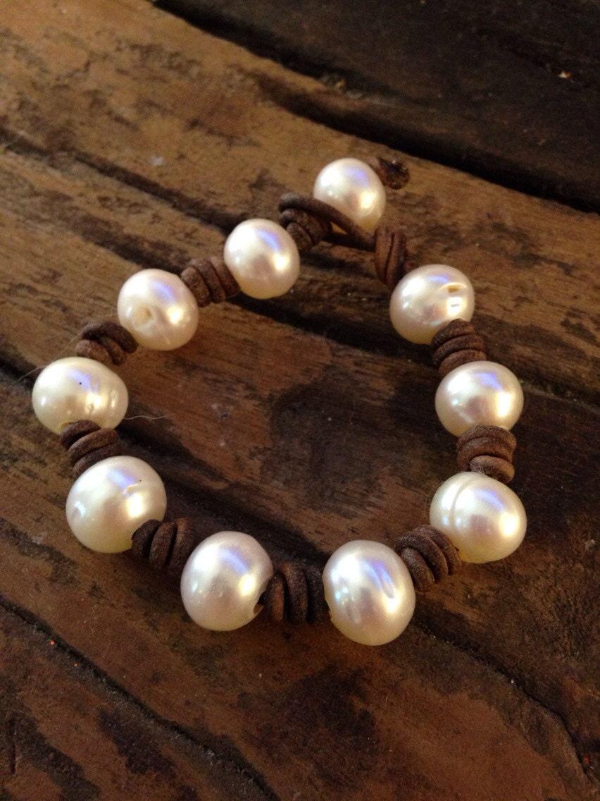 baroque freshwater pearl and leather bracelet. Black Bedroom Furniture Sets. Home Design Ideas