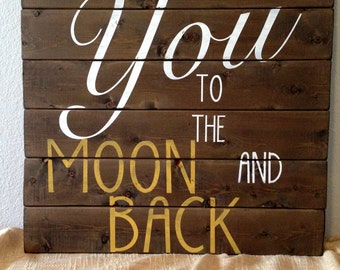 I Love You To The Moon And Back Wall Art family room wall art | etsy
