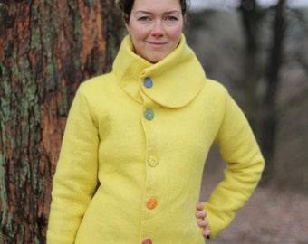 "Hand made merino wool jacket, woman's woolen jacket with linen lining, design felted jacket ""Sun"""