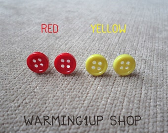 Tiny Button Earrings (Set: Red & Yellow)