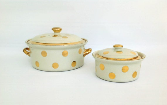 Vintage 4 piece set of covered ivory and gold polka dot for Gold polka dot china