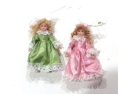 Set of 6 Porcelain Doll Ornaments in Box,  NOS New Old Stock Christmas Gift  Ornaments, Vintage, 4 inch it453 JA4 DeAnnasAttic