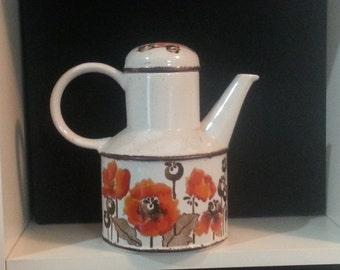 Ceramic Tea Pitcher with Orange Flowers Vintage  IT120 FRBF3 DeAnnasAttic