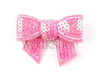 "Pink - Set of 3 Mini 2"" Sequin Bows - MSB-006"