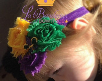 Shabby Chic Mardi Gras Headband in Purple, Gold and Green with Fluer de Lis Center Embellishment