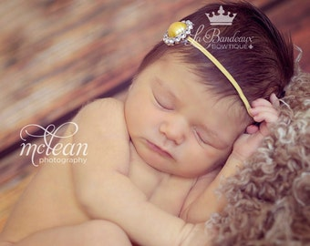 Buttercup Gold Rhinestone Infant Headband, Photo Prop, Baby Headband, Toddler Headband, Jeweled Headband