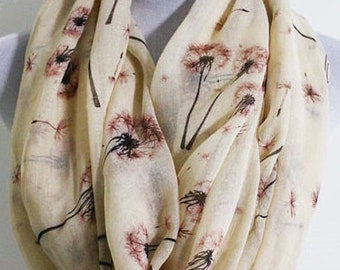On Sale Dandelion Infinity Scarf Spring Dandelion Scarf Dandelion Flower Scarf Flower Scarf Infinity scarf loop scarf gift holiday gift