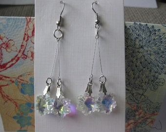 Clear Crystal Beads Stainless Steel Earrings