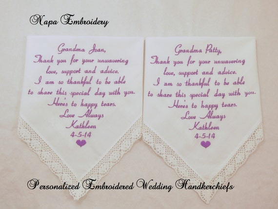 Wedding Gifts for Grandma of the Bride and Groom by NapaEmbroidery