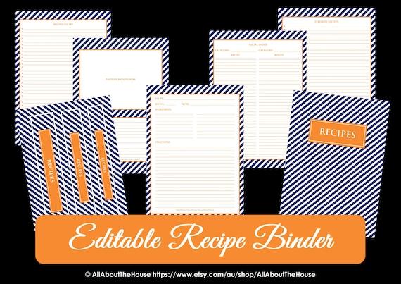 EDITABLE Recipe Binder Printables Recipe Sheet Recipe Card Recipes to ...