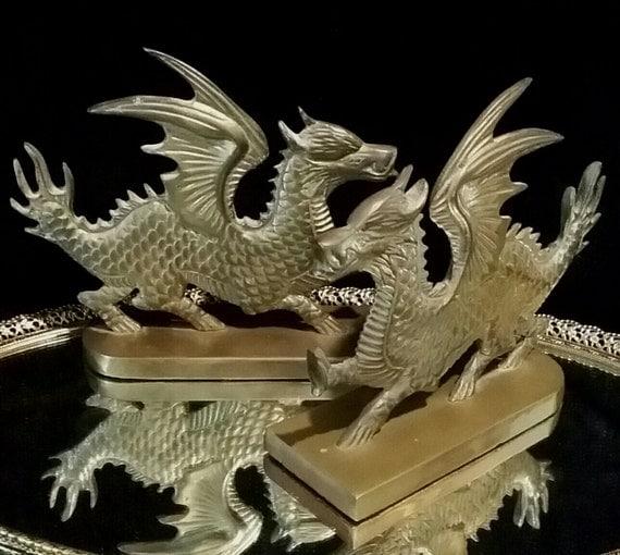 Vintage brass bronze dragon sculpture bookends book ends pair - Dragon bookend ...