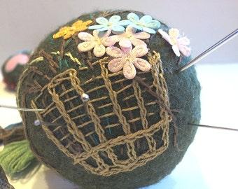 Embroidery Handmade Pincushion, Large Felt Pincusion