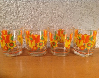 Vintage Mod Flower Power Glasses by Royal Kendall. Orange and Yellow Mod Tulips and Daisies.