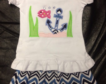 Personalized chevron anchor outfit