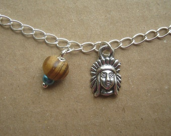 Native American Anklet - Handmade, Unique