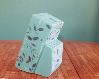 Knife Block, Hand Painted, Brown Leaf, Turquoise, Distressed, Valentine's Day