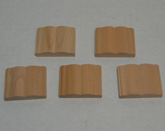 "1-1/2"" Miniature Open Wood Books - Set of 5 - Unfinished - Wooden Book"